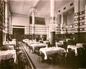 "Sala Kolumnowa w hotelu ""Bristol"", proj. Otto Wagner, wg: Wikipedia Wolna Encyklopedia"