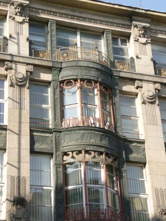 Fragment fasady domu handlowego firmy Modehaus, Wrocław, M. Gerstel. www.muzeumsecesji.pl